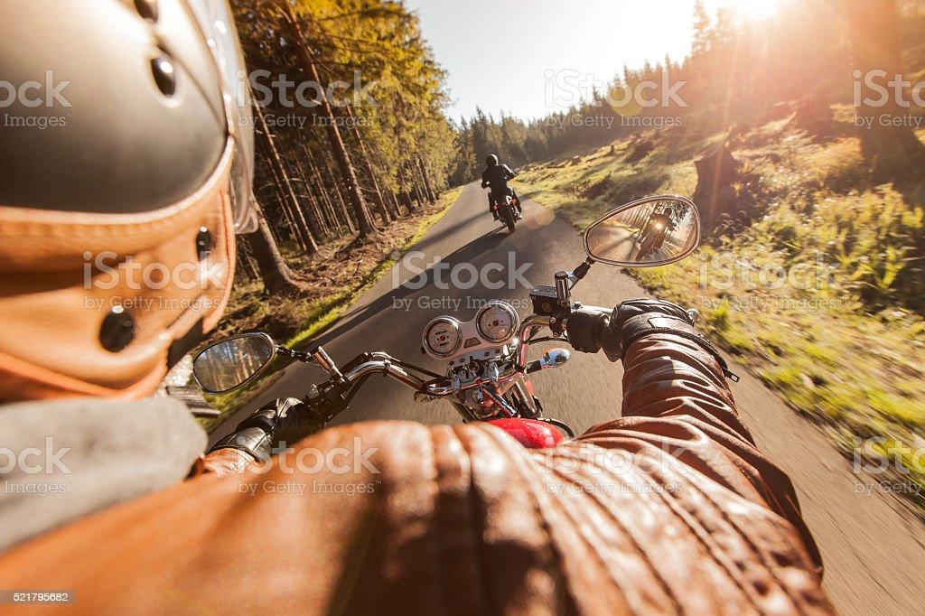Rider on motorcycle. stock photo