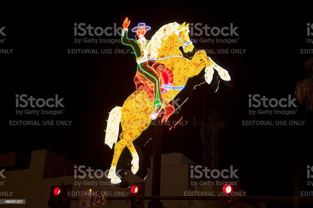rider on neon sign in Fremont Street in Las Vegas stock photo