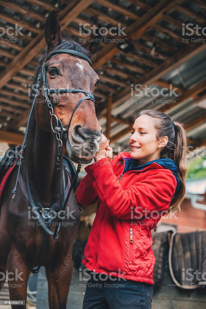 Rider putting reins on her mare before training stock photo