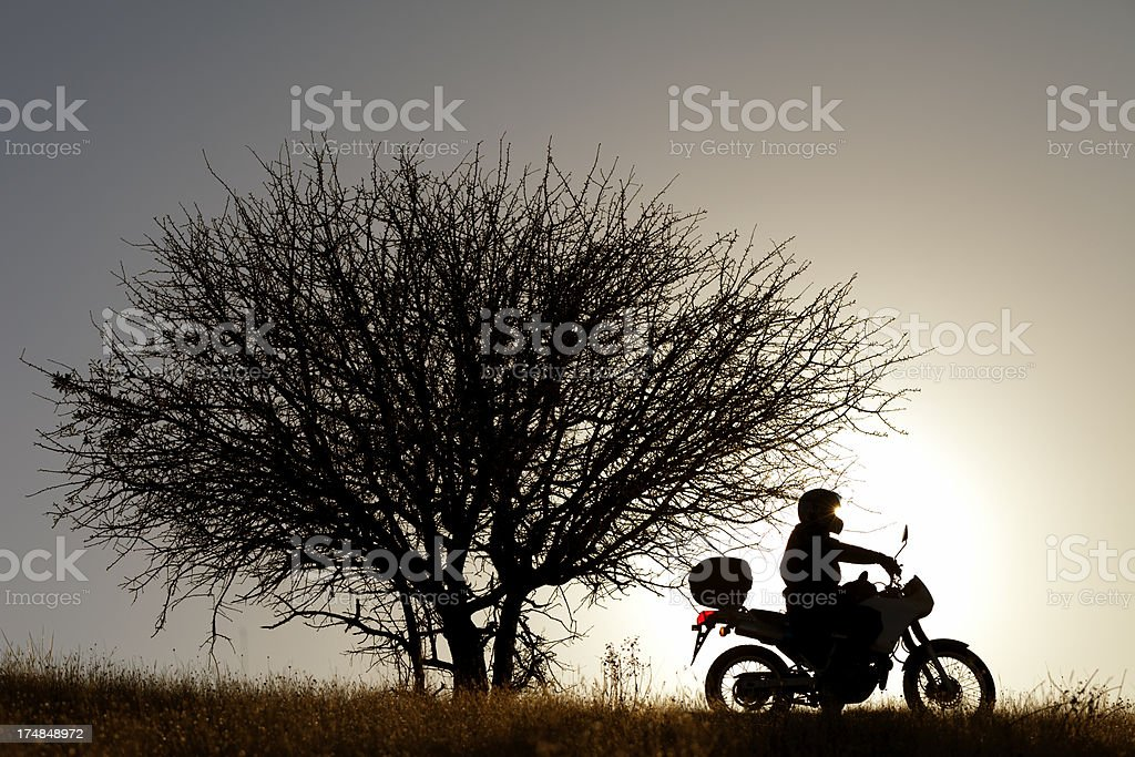 Rider silhouetted by sun during sunset. royalty-free stock photo