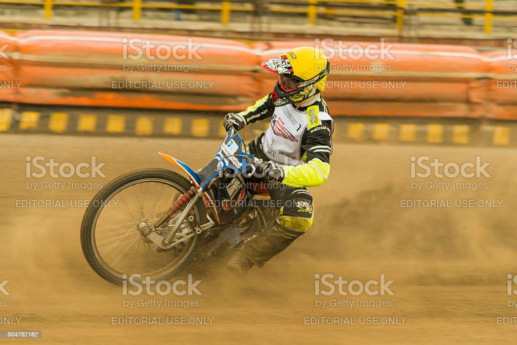 Rider  Vladimir Trofimov overcomes the track stock photo