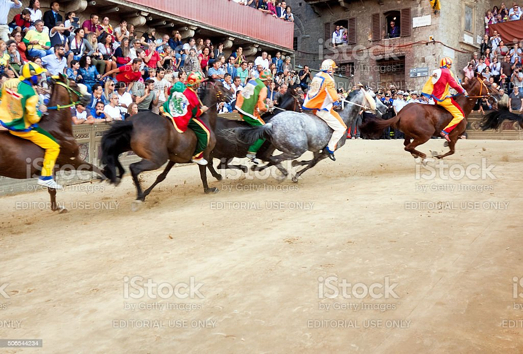 Riders compete in horse race 'Palio di Siena' stock photo