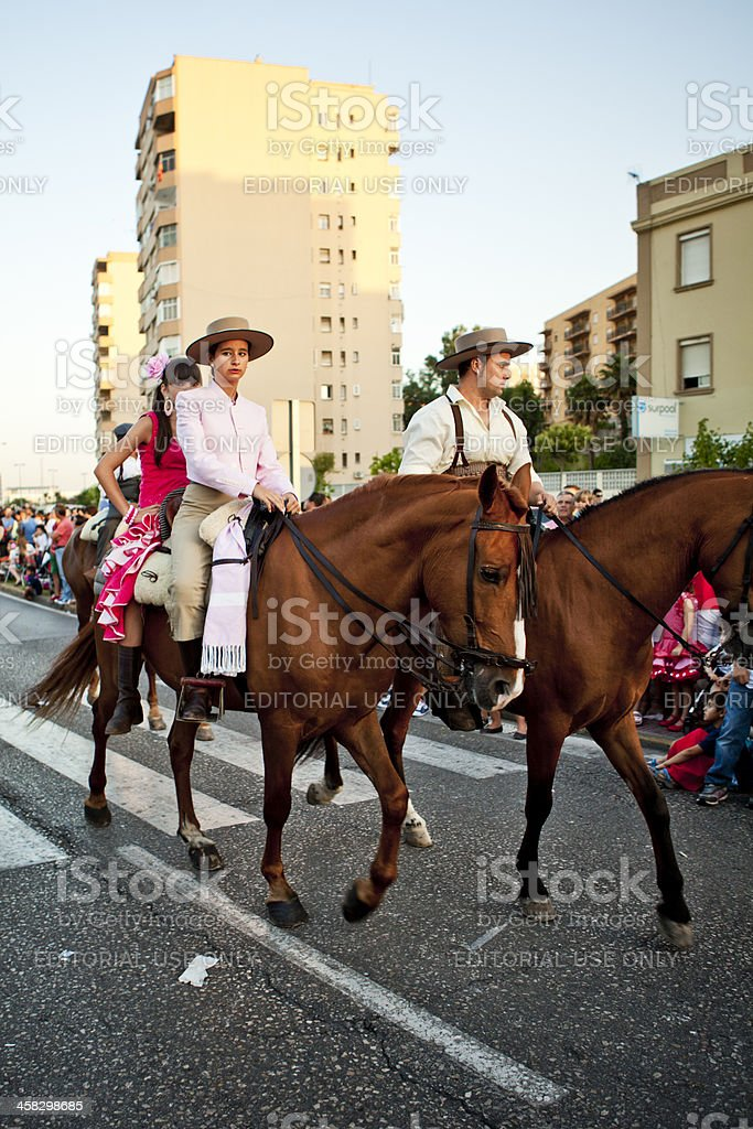 Riders on Horses in Andalusian Spring Parade royalty-free stock photo
