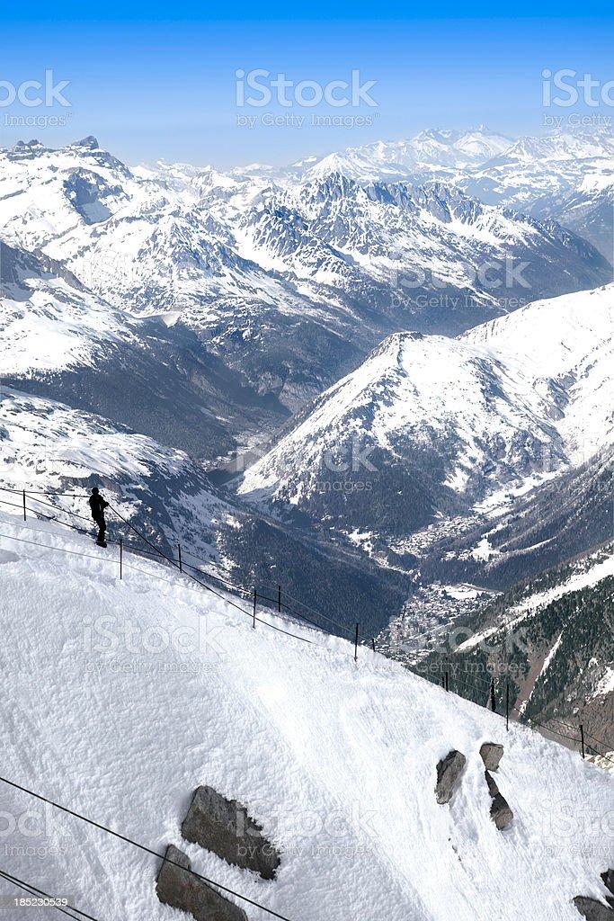 Ridge overlooking Chamonix, France. stock photo