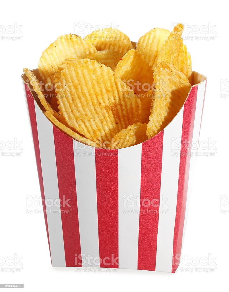 Ridged potato chips in red white cardboard box royalty-free stock photo