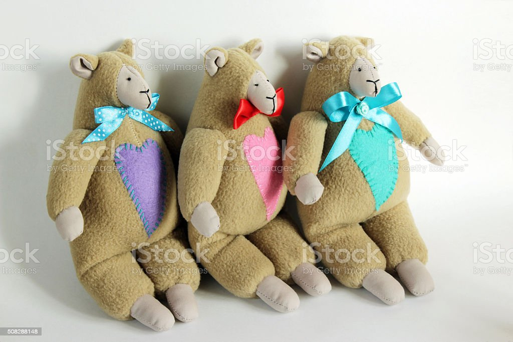 ridiculous lambs of a tilde with hearts stock photo