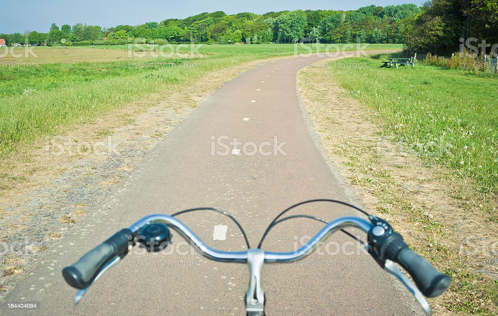 Riding A Bicycle In Holland stock photo