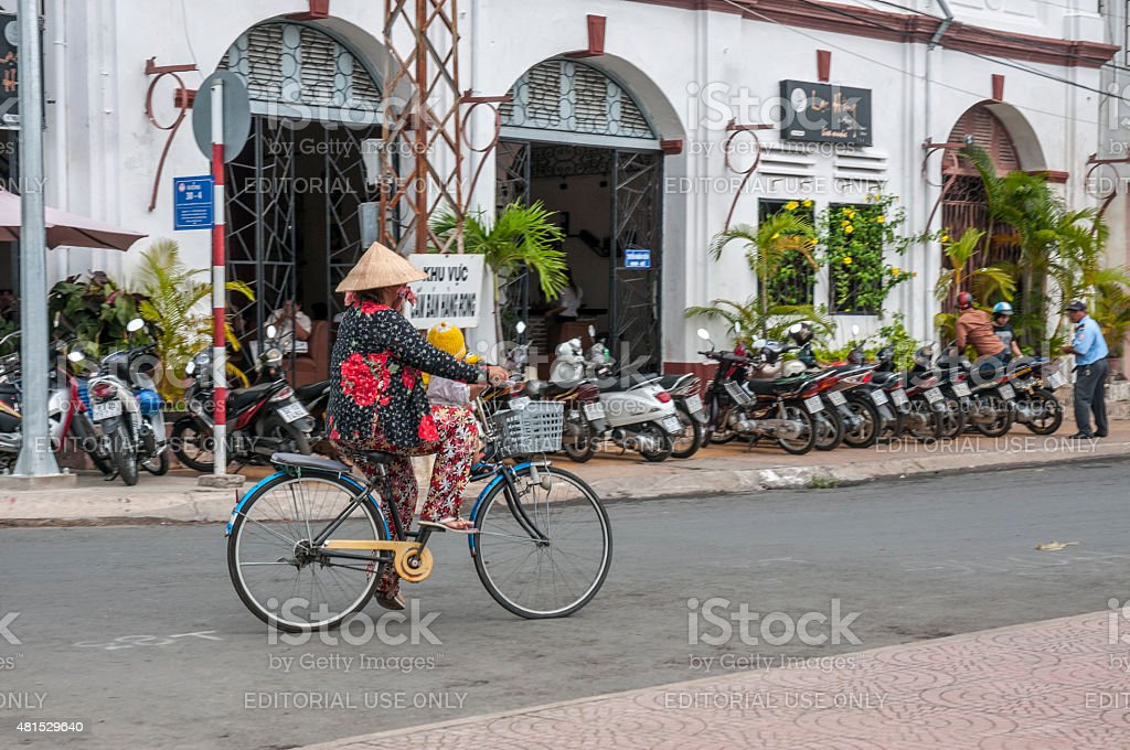 Riding A Bicycle In Vietnam stock photo