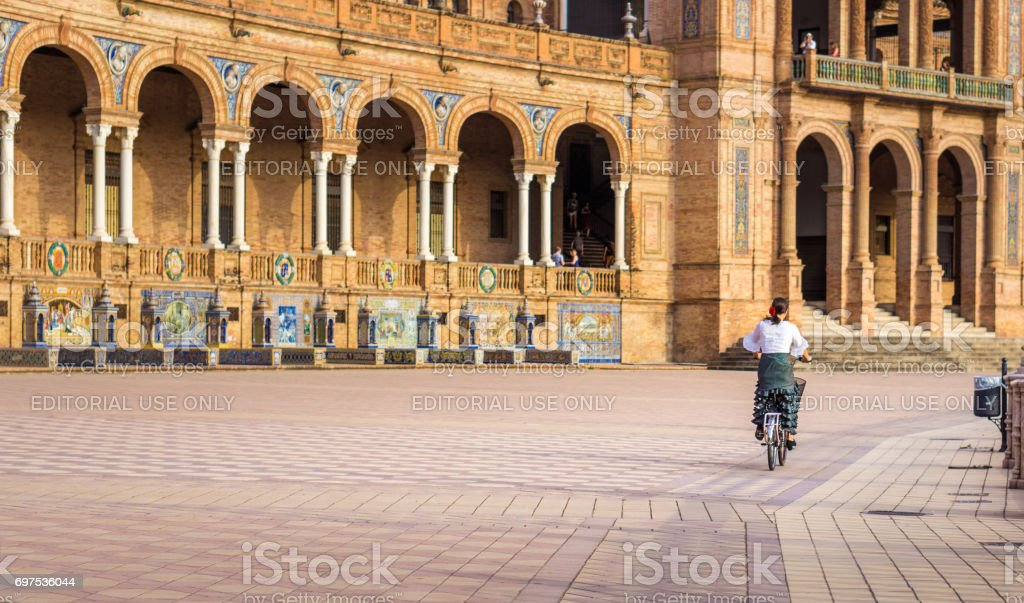 Riding a Bike in Spain Square stock photo