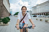 Riding a bike in the city