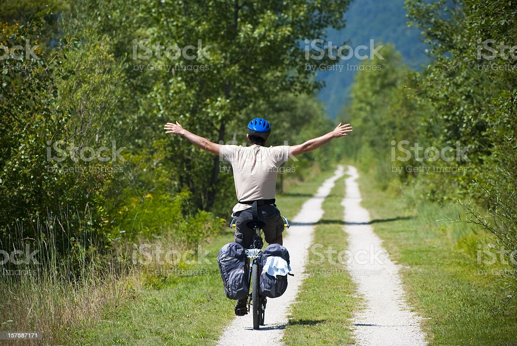 Riding a bike stock photo