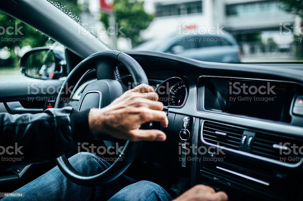 Riding a  car stock photo