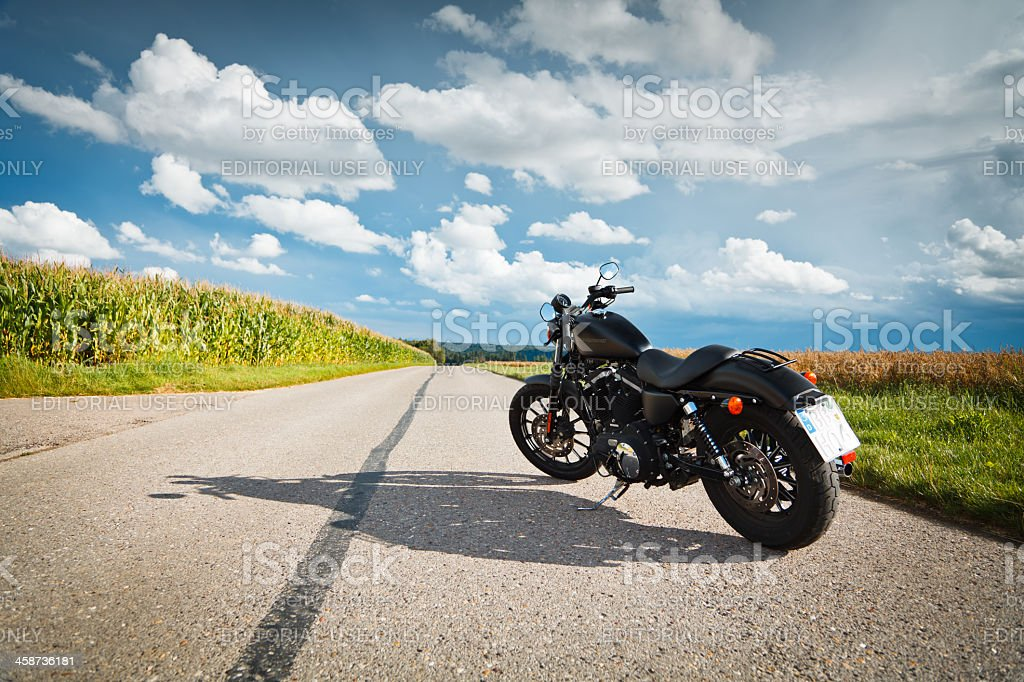riding a harley stock photo