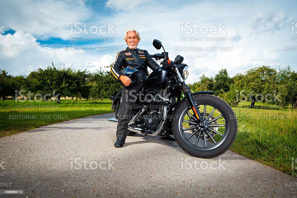 riding a harley stock photo