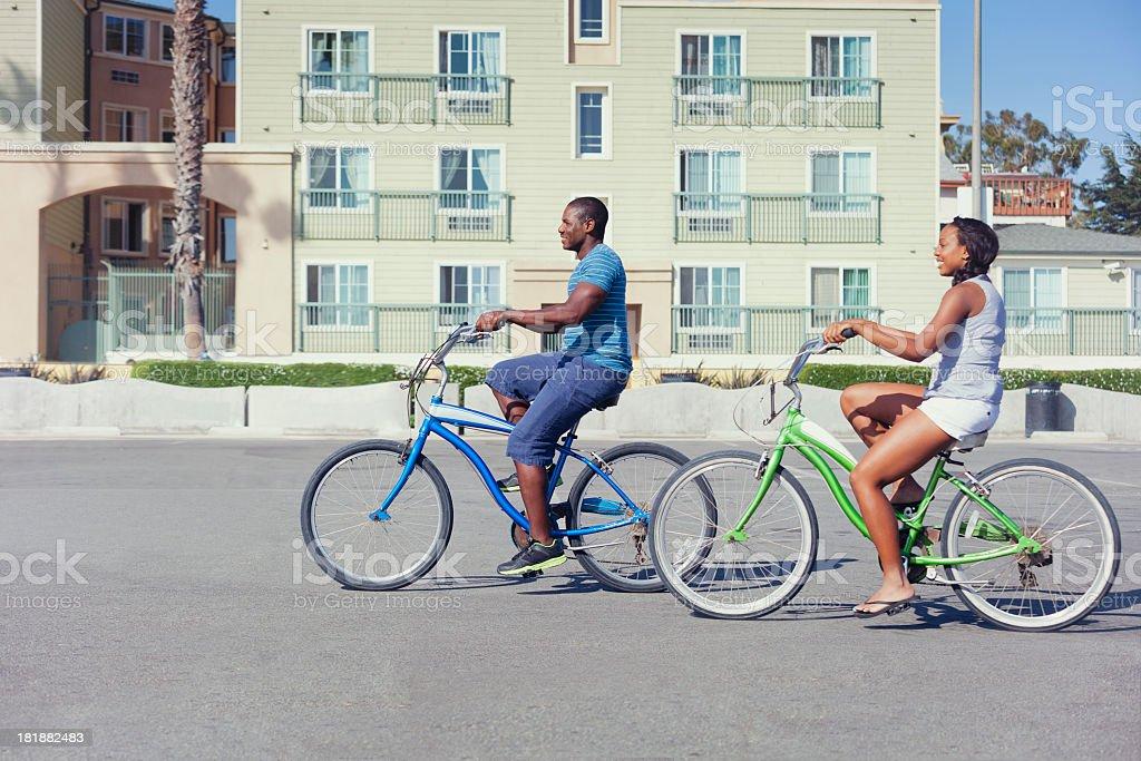 Riding Beachcomber Bicycles stock photo