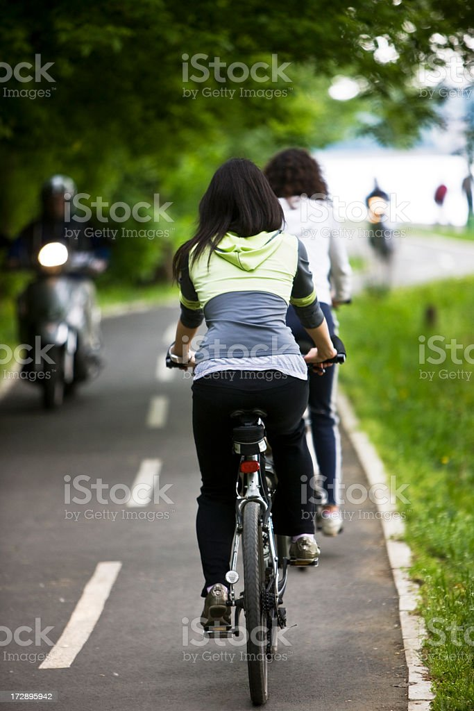 Riding bicycle royalty-free stock photo