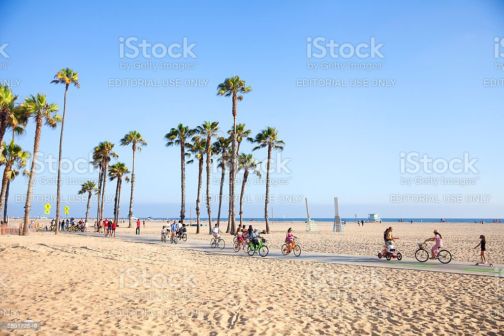 Riding bikes in Santa Monica Beach, California stock photo