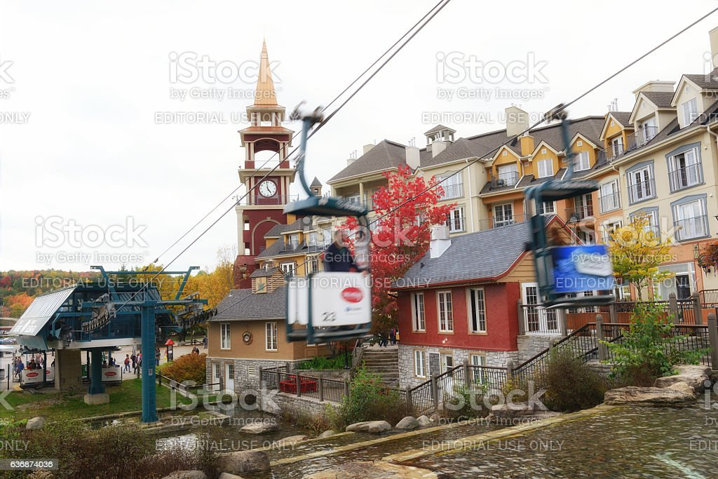 Riding Cable Car at Mont Tremblant Resort Village stock photo