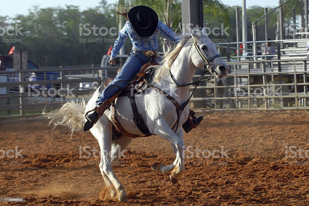Riding cowgirl stock photo