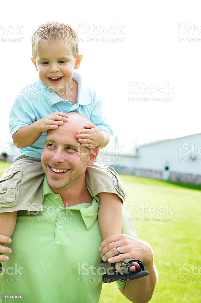 Riding Daddy! royalty-free stock photo