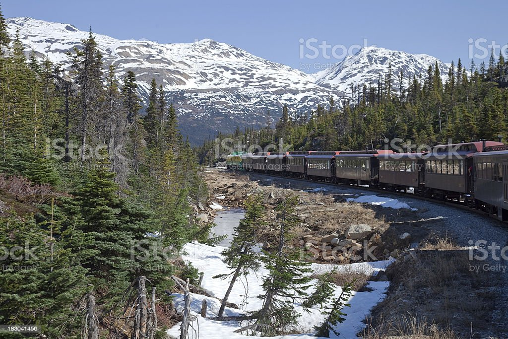 Riding Down the White Pass Mountains to Skagway Alaska stock photo