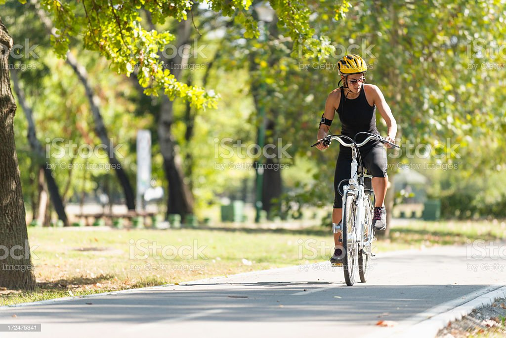 Riding e-bike stock photo