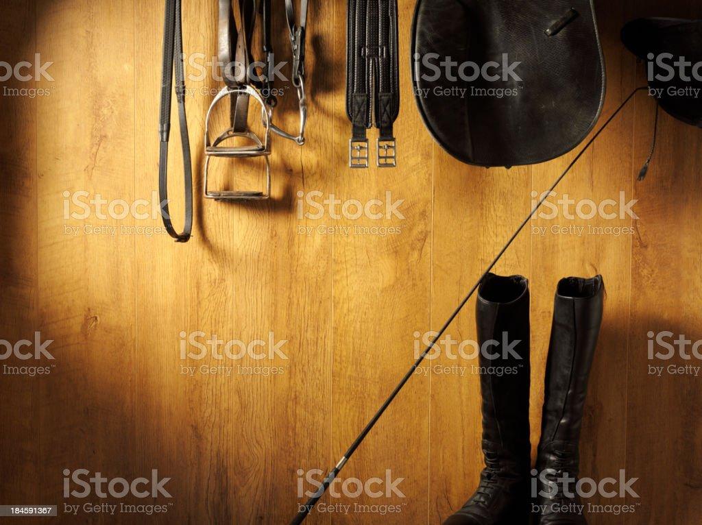 Riding Equipment Hanging stock photo