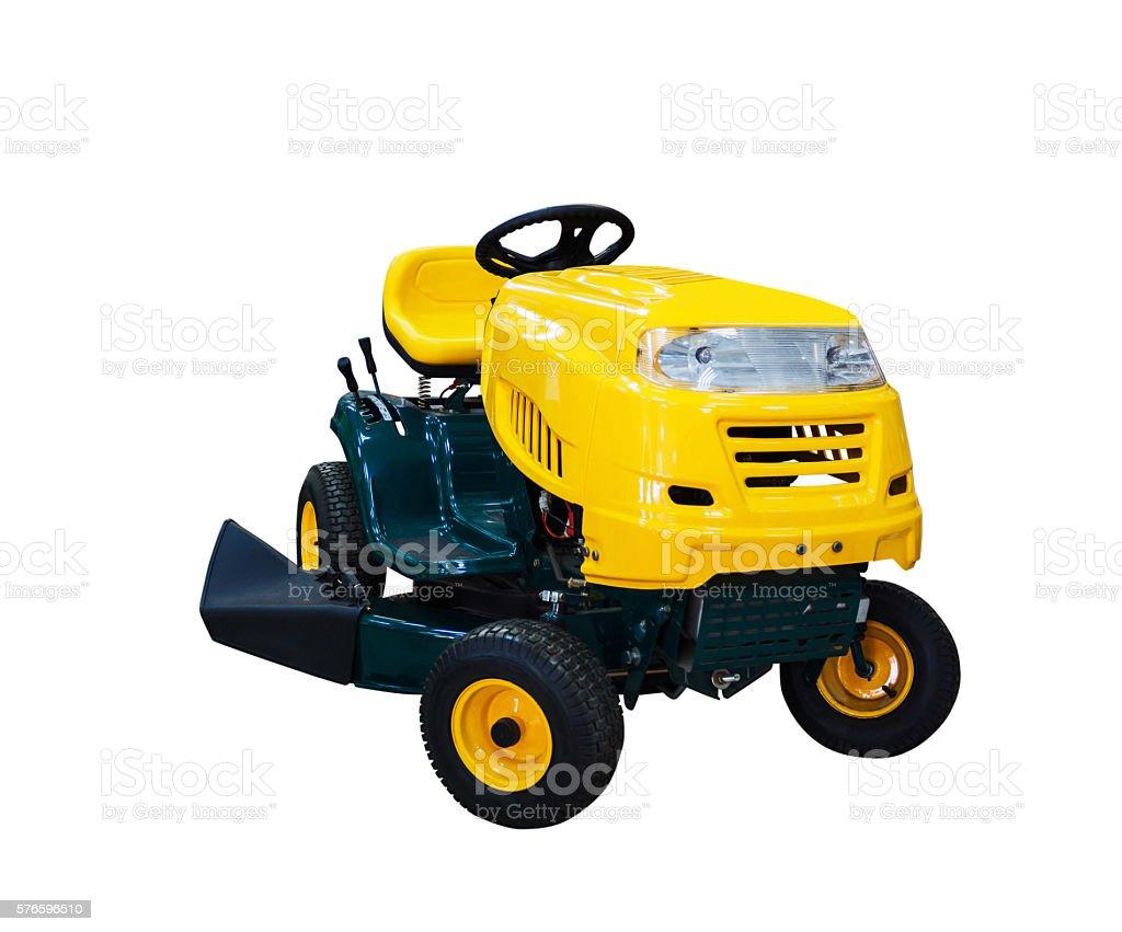 Riding garden tractor stock photo