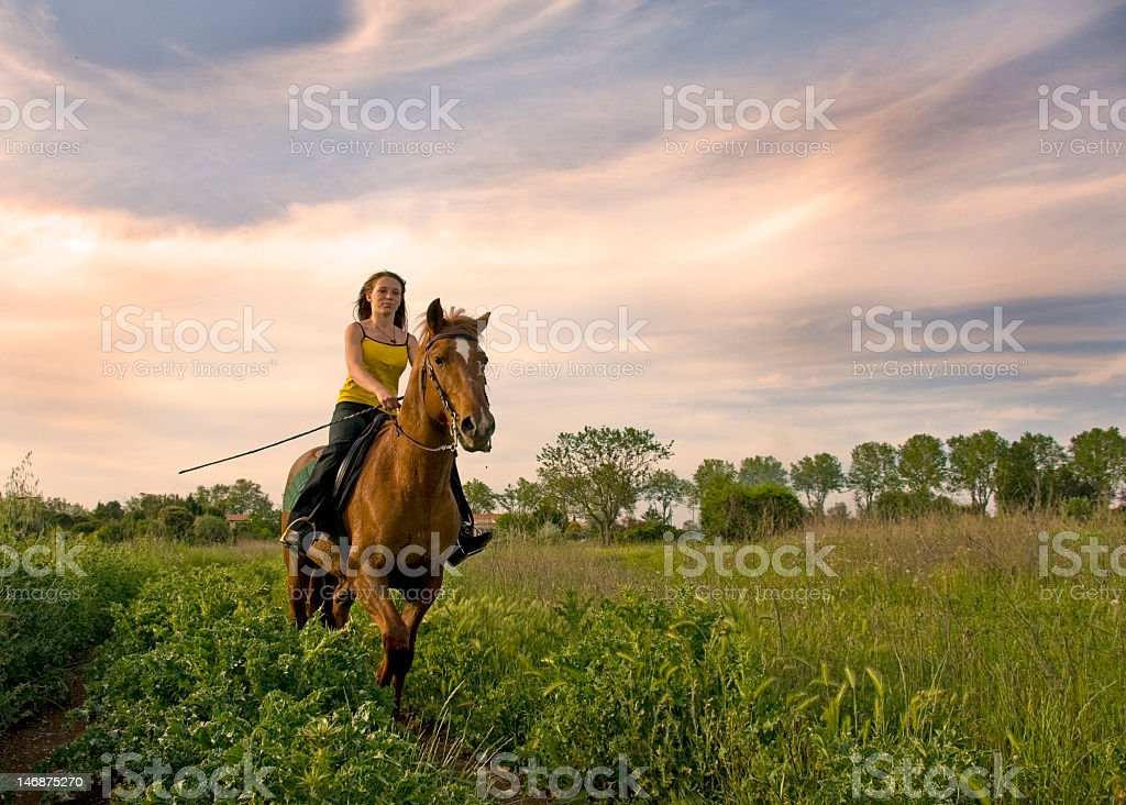 riding girl stock photo