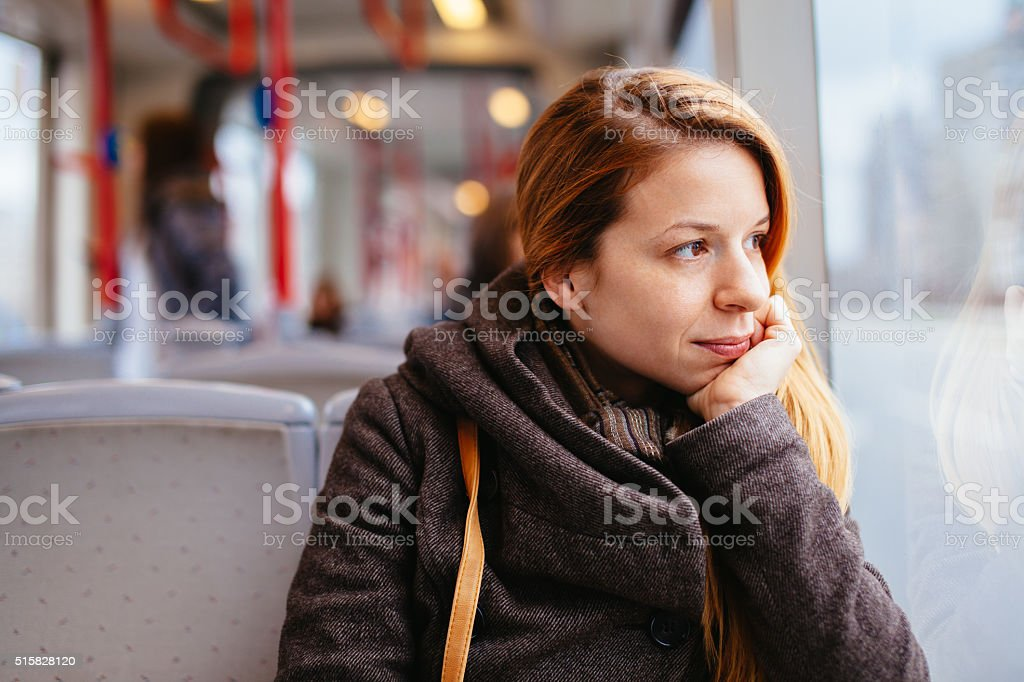Riding in public transport stock photo