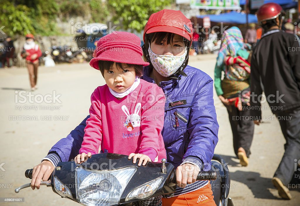 riding motorcycle in Vietnam royalty-free stock photo