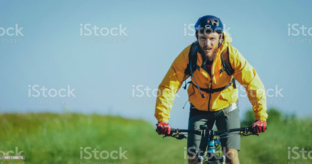Riding mountainbike bicycle stock photo