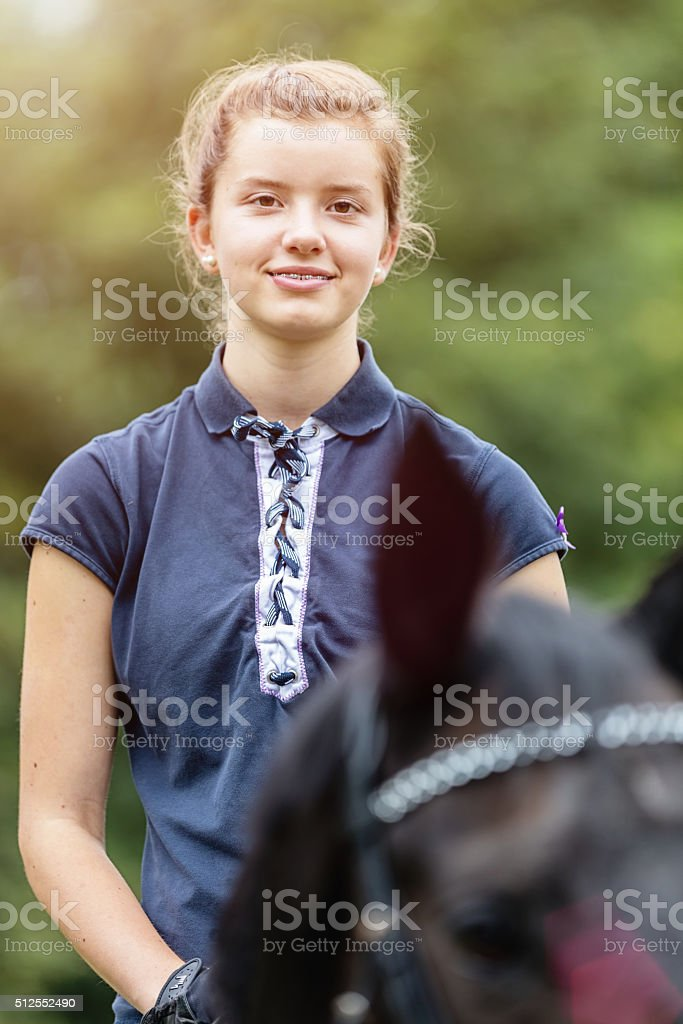 Riding my horse, happy teenage girl horseback ride stock photo
