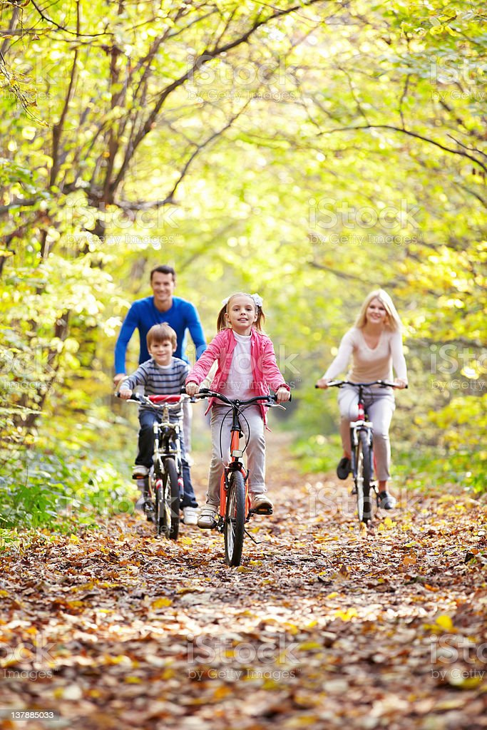 Riding on bicycles royalty-free stock photo