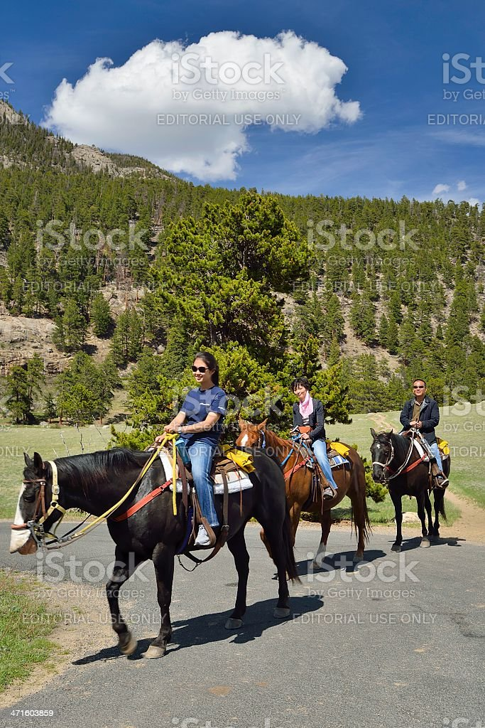 Riding on Horseback, Colorado royalty-free stock photo
