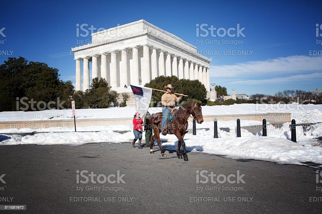 Riding on horseback in Washington DC stock photo