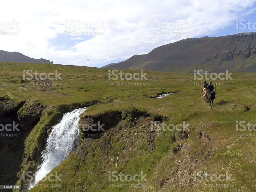 Riding on the cliff's edge - Iceland stock photo