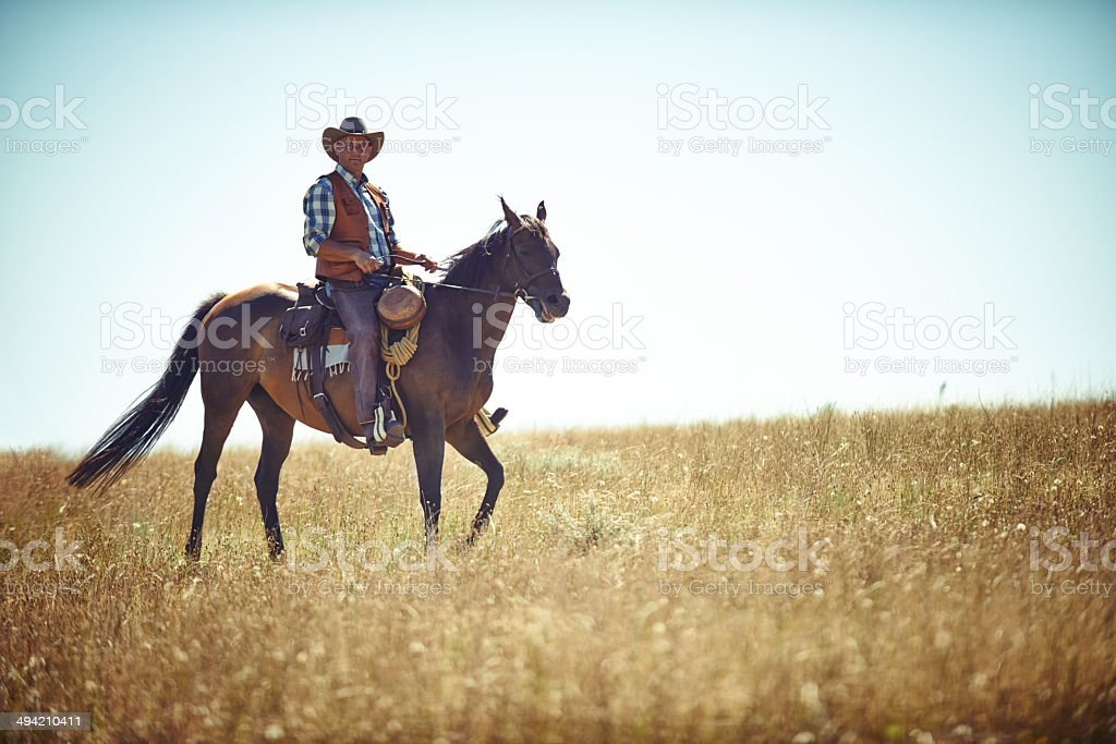 Riding on the plains royalty-free stock photo