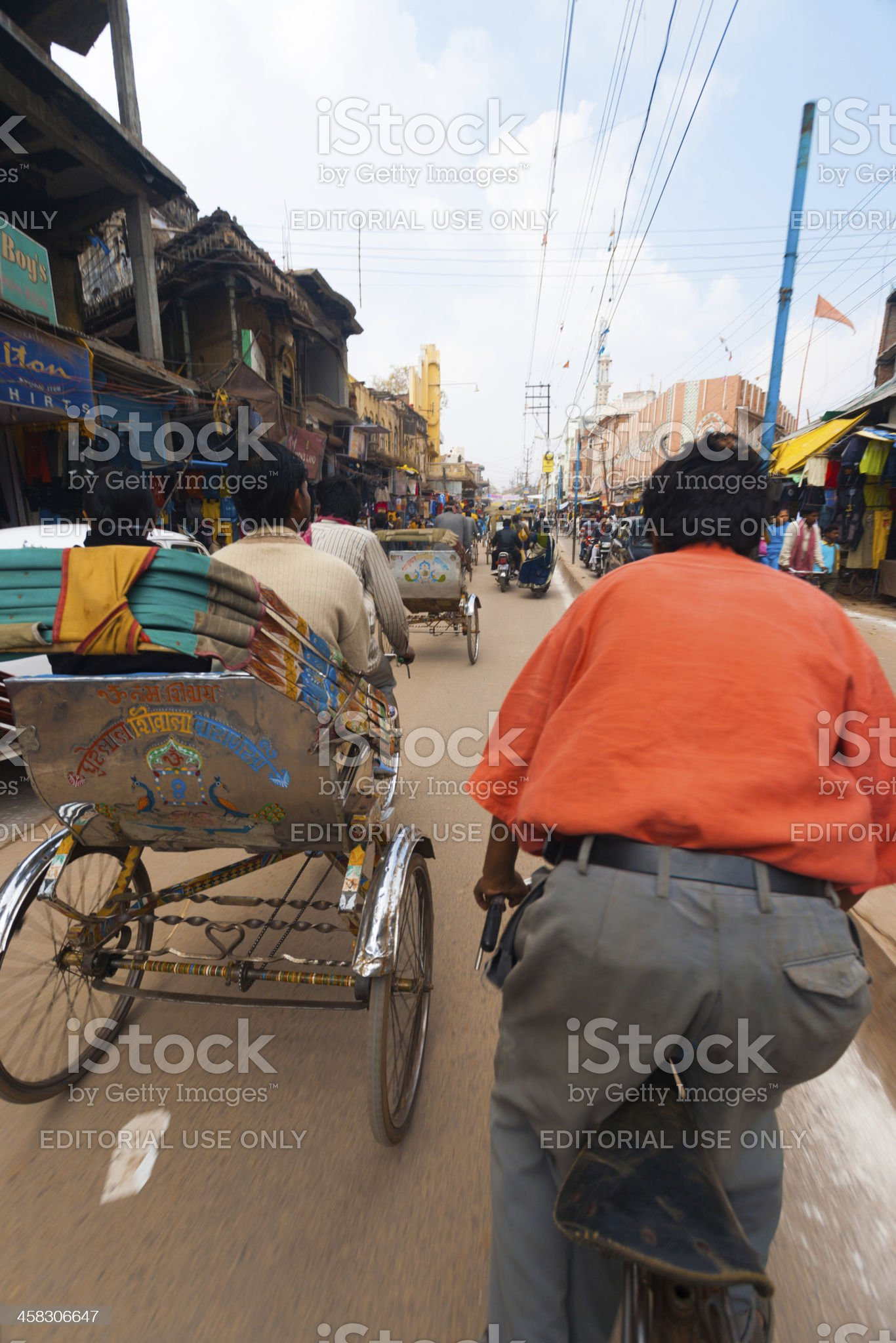 Riding Passenger POV Cycle Rickshaw Street India royalty-free stock photo