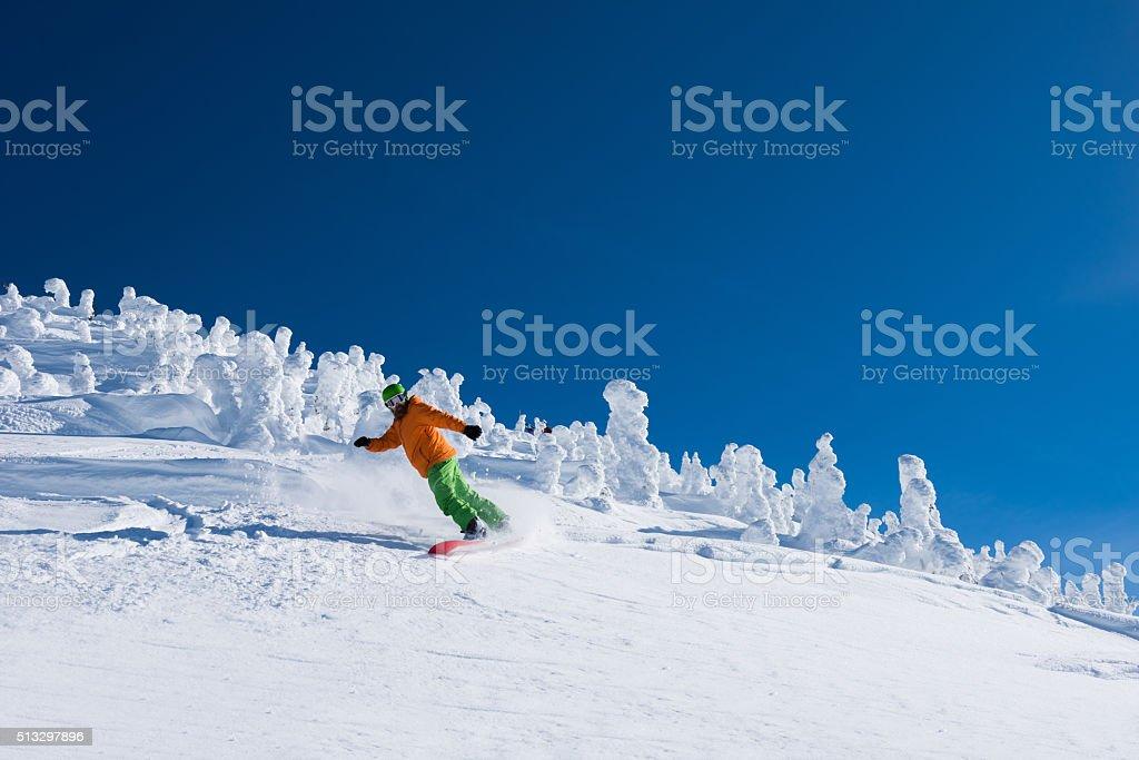 Riding powder at Revelstoke Mountain Resort stock photo