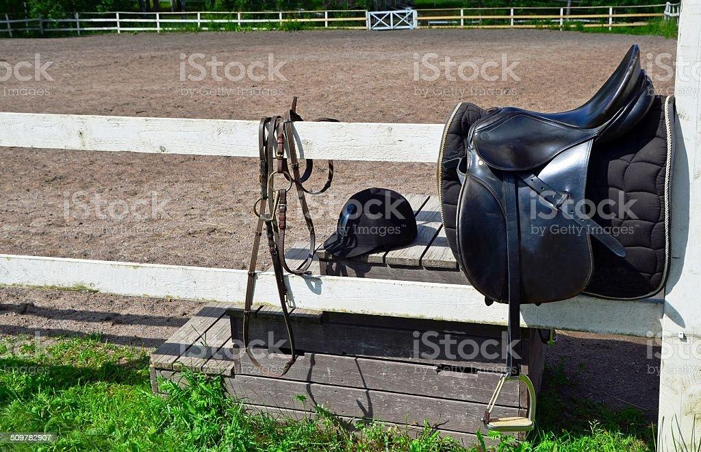 Riding saddle stock photo