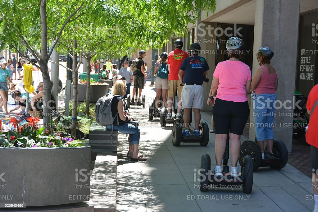 Riding Segways at the 2016 Denver Chalk Art Festival stock photo