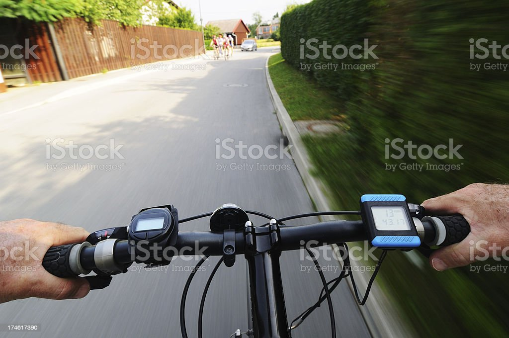 Riding the bicycle stock photo