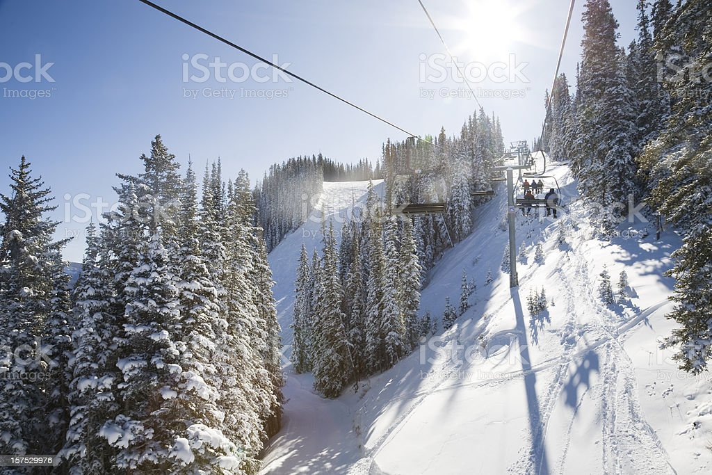Riding the Chair at Aspen stock photo