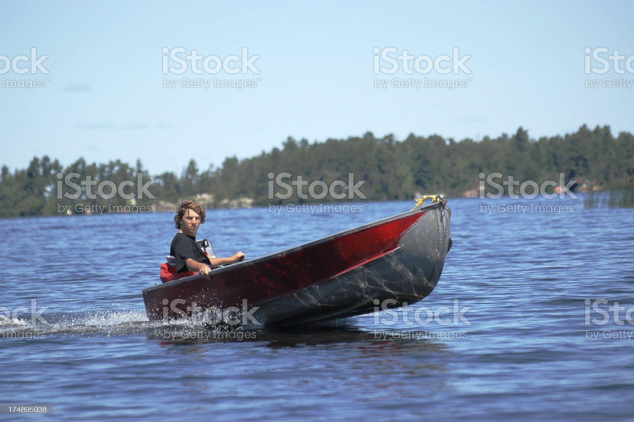 Riding the lake royalty-free stock photo