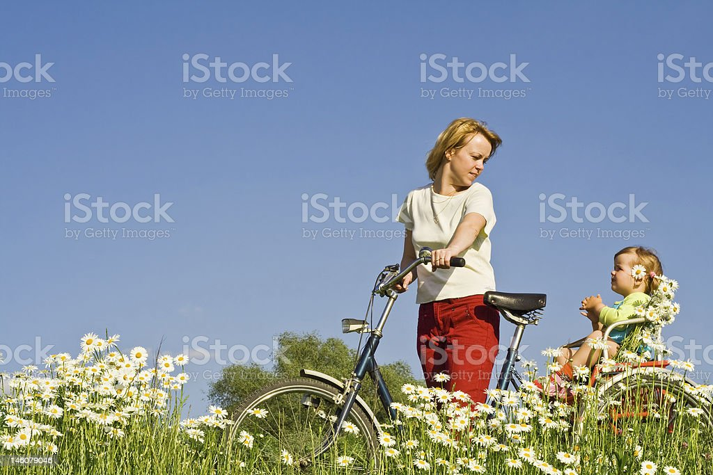 Riding through the daisy field royalty-free stock photo