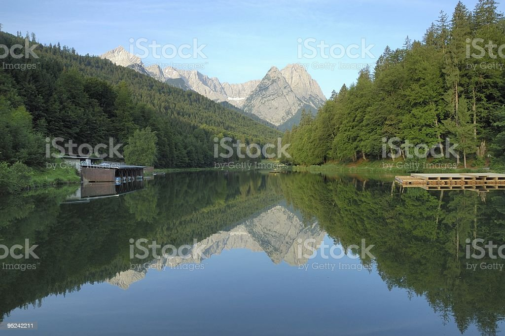 Riessersee and Zugzpitze royalty-free stock photo