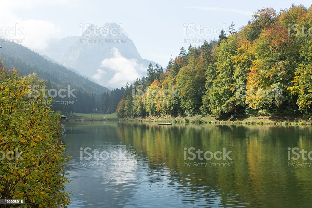 Riessersee View towards Alps Panorama stock photo