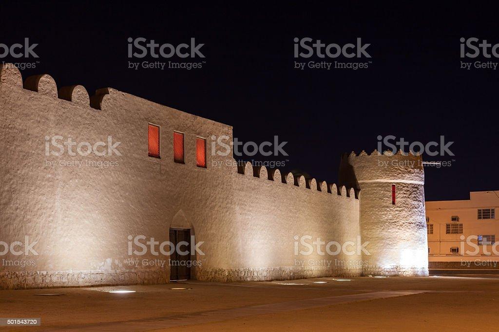 Riffa Fort at night, Kingdom of Bahrain stock photo