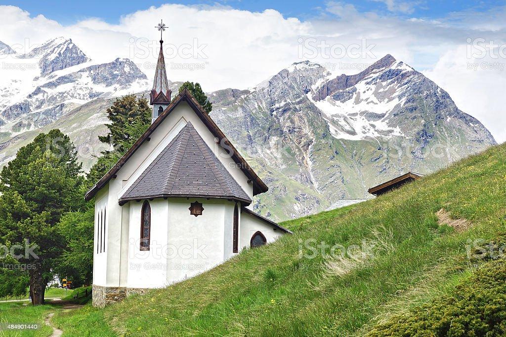 Riffelalp Kapelle, Switzerland. stock photo